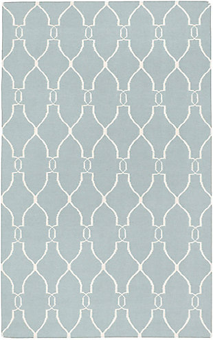 Hand Crafted 2' x 3' Area Rug, Blue/Beige, large