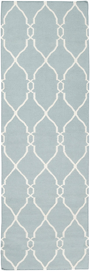 "Hand Crafted 2'6"" x 8' Area Rug, Blue/Beige, large"