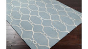 """Hand Crafted 2'6"""" x 8' Area Rug, Blue/Beige, rollover"""