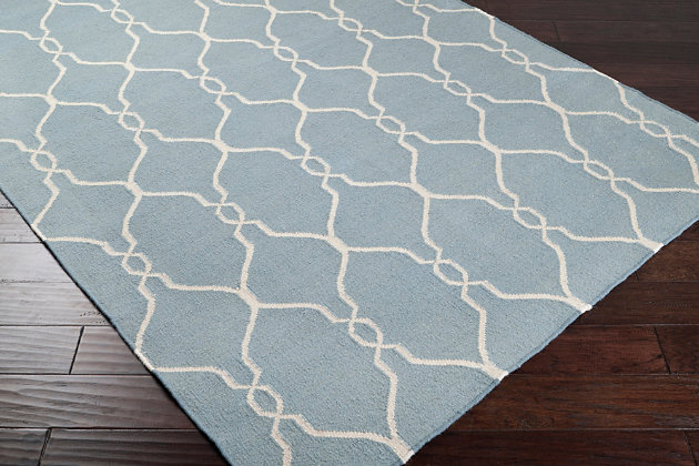 Hand Crafted Hand Woven 8' x 11' Area Rug, Blue/Beige, large