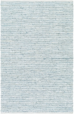 """Hand Crafted 5' X 7'6"""" Area Rug, Teal/Gray, large"""