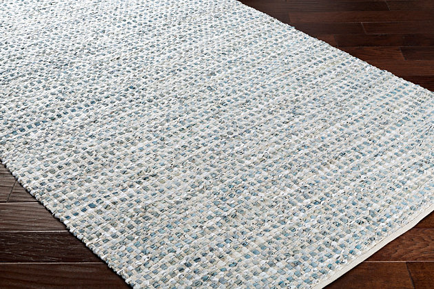 "Hand Crafted 5' x 7'6"" Area Rug, Teal/Gray, large"