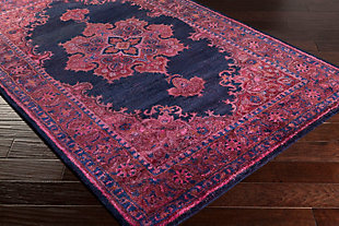 Hand Crafted 2' x 3' Area Rug, Dark Purple/Navy, rollover