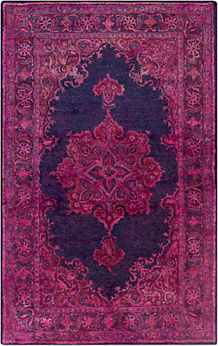 Hand Crafted 5' x 8' Area Rug, Dark Purple/Navy, large