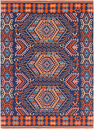 Hand Crafted 2' x 3' Outdoor Rug, Poppy Red/Navy Blue, large