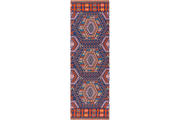 """Hand Crafted 2'6"""" x 8' Outdoor Rug, Poppy Red/Navy Blue, large"""