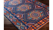 """Hand Crafted 5' x 7'6"""" Area Rug, Poppy Red/Navy Blue, rollover"""