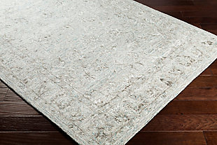 Hand Crafted 4' x 6' Area Rug, Seafoam/Gray/Beige, rollover