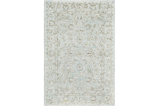 "Hand Crafted 5' x 7'6"" Area Rug, Seafoam/Gray/Beige, large"