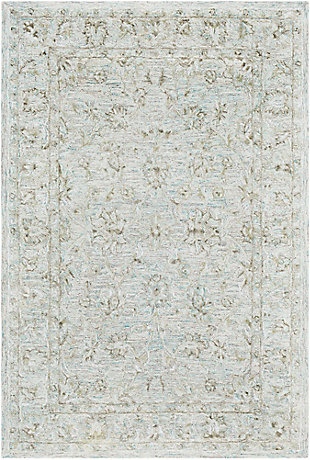 Hand Crafted 7' x 9' Area Rug, Seafoam/Gray/Beige, large
