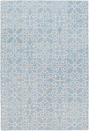 Hand Hooked 2' x 3' Area Rug, Denim/Khaki, large