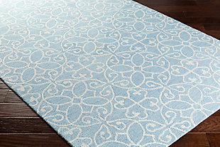 "Hand Hooked 5' x 7'6"" Area Rug, Denim/Khaki, large"