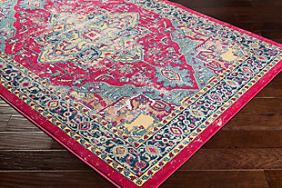 Rectangular Classic 2' x 3' Area Rug, Blue/Yellow/Pink, rollover