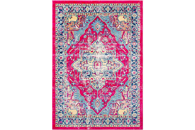 "Rectangular Classic 5'3"" x 7'6"" Area Rug, Blue/Yellow/Pink, large"