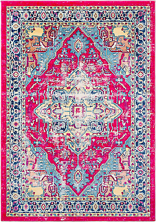 "Rectangular Classic 7'10"" x 10'3"" Area Rug, Blue/Yellow/Pink, large"