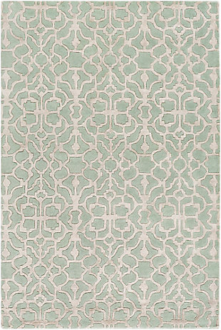 "Hand Crafted 5' x 7'6"" Area Rug, Mint/Light Gray, large"