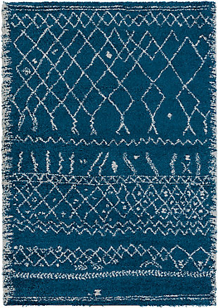 "Shag 7'11"" x 10'10"" Area Rug, Sky Blue/White, large"