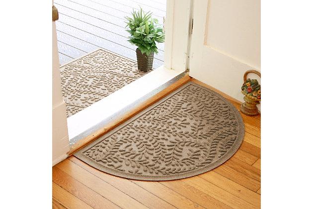 "Home Accent Aqua Shield Boxwood 24"" x 39"" Half Round Doormat, Khaki, large"