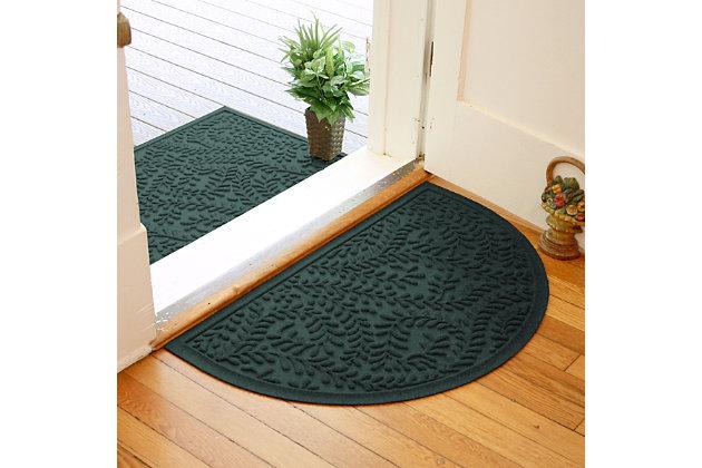 "Home Accent Aqua Shield Boxwood 24"" x 39"" Half Round Doormat, Evergreen, large"