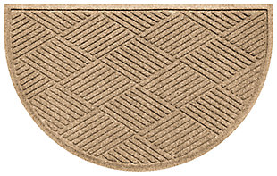 "Home Accent Aqua Shield Diamonds 24"" x 39"" Half Round Doormat, Khaki, large"