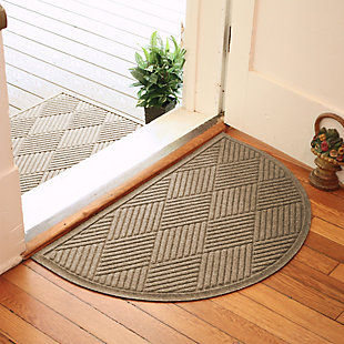 "Home Accent Aqua Shield Diamonds 24"" x 39"" Half Round Doormat, Khaki, rollover"
