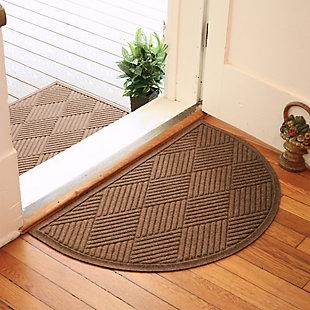 "Home Accent Aqua Shield Diamonds 24"" x 39"" Half Round Doormat, Dark Brown, large"