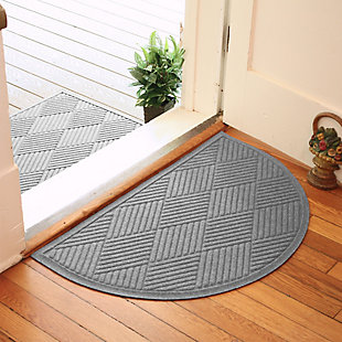 "Home Accent Aqua Shield Diamonds 24"" x 39"" Half Round Doormat, Medium Gray, rollover"