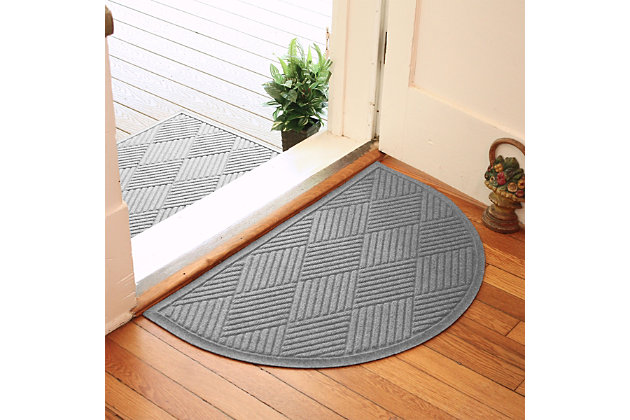 "Home Accent Aqua Shield Diamonds 24"" x 39"" Half Round Doormat, Medium Gray, large"