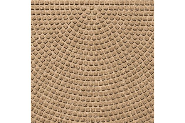 """Home Accent Aqua Shield Squares 24"""" x 39"""" Half Round Doormat, Khaki, large"""