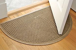 "Home Accent Aqua Shield Squares 24"" x 39"" Half Round Doormat, Khaki, rollover"