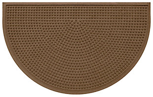 "Home Accent Aqua Shield Squares 24"" x 39"" Half Round Doormat, Dark Brown, large"