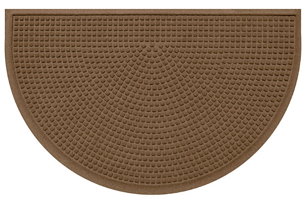 "Home Accent Aqua Shield Squares 24"" x 39"" Half Round Doormat, Dark Brown, large"
