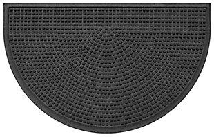 "Home Accent Aqua Shield Squares 24"" x 39"" Half Round Doormat, Charcoal, large"
