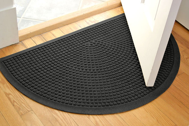 "Home Accent Aqua Shield Squares 24"" x 39"" Half Round Doormat, Charcoal, large"