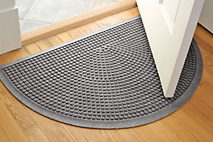 "Home Accent Aqua Shield Squares 24"" x 39"" Half Round Doormat, Medium Gray, large"