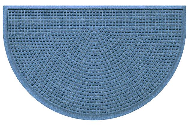 """Home Accent Aqua Shield Squares 24"""" x 39"""" Half Round Doormat, Bluestone, large"""