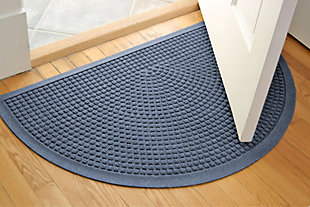 "Home Accent Aqua Shield Squares 24"" x 39"" Half Round Doormat, Bluestone, large"