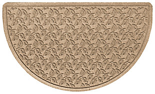 "Home Accent Aqua Shield Dogwood Leaf 24"" x 39"" Half Round Doormat, Khaki, rollover"