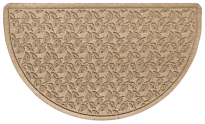 "Home Accent Aqua Shield Dogwood Leaf 24"" x 39"" Half Round Doormat, Khaki, large"
