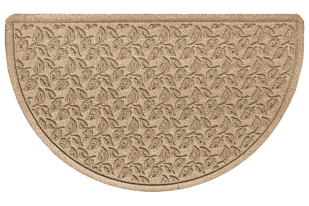 "Home Accent Aqua Shield Dogwood Leaf 24"" x 39"" Half Round Doormat, Khaki, large"