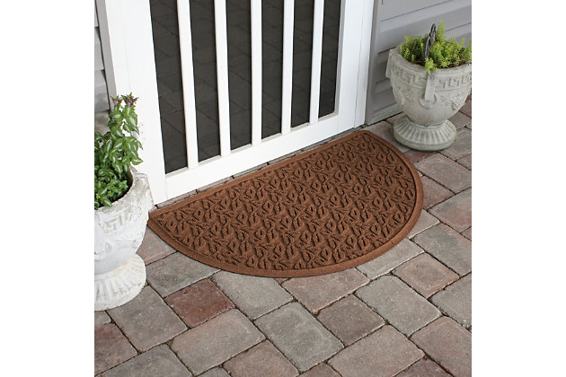 "Home Accent Aqua Shield Dogwood Leaf 24"" x 39"" Half Round Doormat, Dark Brown, large"