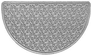 "Home Accent Aqua Shield Dogwood Leaf 24"" x 39"" Half Round Doormat, Medium Gray, large"