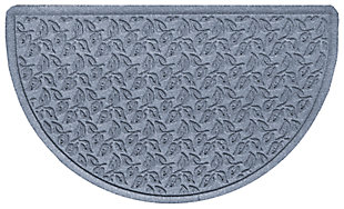 "Home Accent Aqua Shield Dogwood Leaf 24"" x 39"" Half Round Doormat, Bluestone, large"