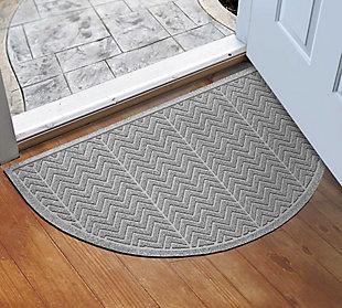 """Home Accent Aqua Shield Chevron 24"""" x 39"""" Half Round, Medium Gray, rollover"""