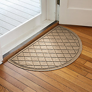 "Home Accent Aqua Shield Argyle 24"" x 39"" Half Round Doormat, Khaki, large"