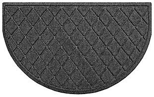 "Home Accent Aqua Shield Argyle 24"" x 39"" Half Round Doormat, Charcoal, large"