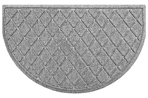 "Home Accent Aqua Shield Argyle 24"" x 39"" Half Round Doormat, Medium Gray, large"