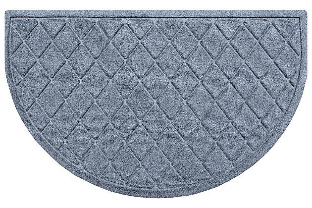 "Home Accent Aqua Shield Argyle 24"" x 39"" Half Round Doormat, Bluestone, large"
