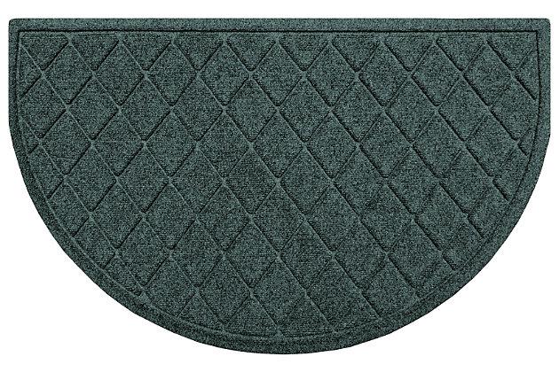"Home Accent Aqua Shield Argyle 24"" x 39"" Half Round Doormat, Evergreen, large"