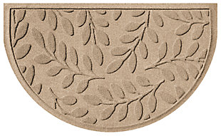 "Home Accent Aqua Shield Brittany Leaf 24"" x 39"" Half Round Doormat, Khaki, large"